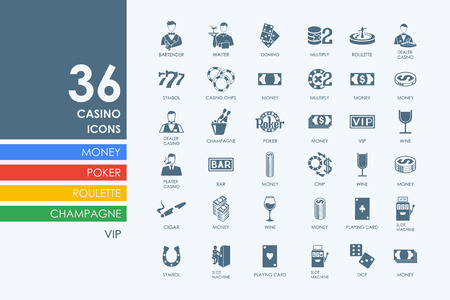 casino dealer: casino vector set of modern simple icons