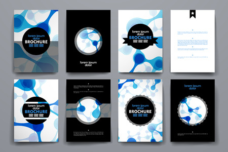 organic background: Set of brochure, poster templates in DNA molecule style. Beautiful design and layout Illustration