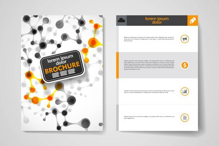 macromolecule: Set of brochure, poster templates in DNA molecule style. Beautiful design and layout Illustration