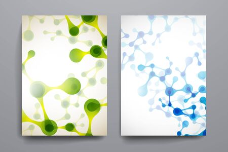 organic background: Set of brochure, poster templates in DNA molecule style. Beautiful design Illustration
