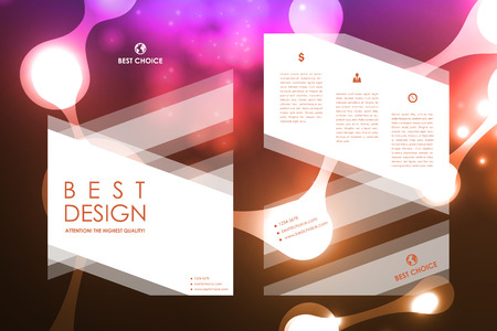 book background: Set of brochure, poster templates in neon molecule structure style. Beautiful design and layout