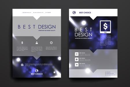 Ensemble de brochure, des modèles d'affiches au néon dans molécule structure style. Belle conception et l'agencement