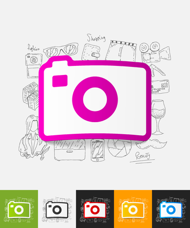 foreshortening: hand drawn simple elements with photo paper sticker shadow