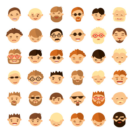 expresiones faciales: Set of people face icons in flat style. Different emotions Vectores