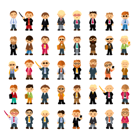 girl glasses: Set of people characters in flat style. Different emotions Illustration