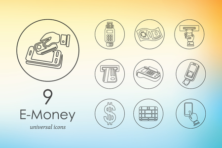 liabilities: e-money modern icons for mobile interface on blurred background