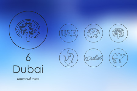 united arab emirate: Dubai modern icons for mobile interface on blurred background