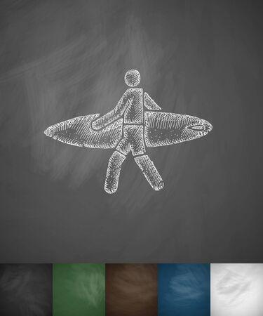 somersault: surfer with surfboard icon. Hand drawn vector illustration. Chalkboard Design Illustration