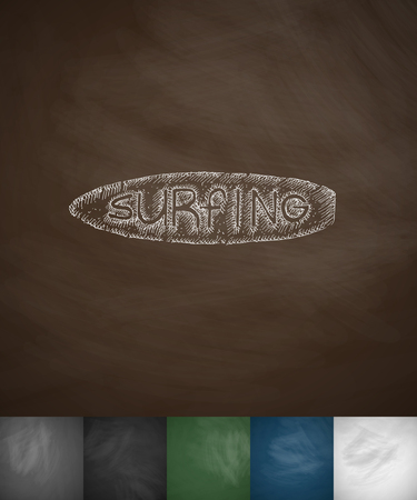 hydroplaning: surfing icon. Hand drawn vector illustration. Chalkboard Design Illustration