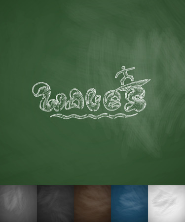hydroplaning: WAWES icon. Hand drawn vector illustration. Chalkboard Design