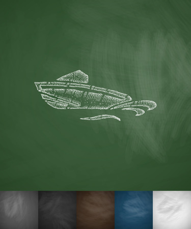 hydroplaning: boat icon. Hand drawn vector illustration. Chalkboard Design Illustration