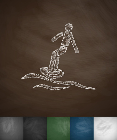 hydroplaning: surfer on waves icon. Hand drawn vector illustration. Chalkboard Design Illustration