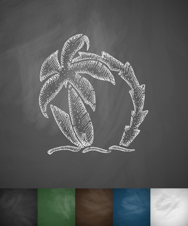 hydroplaning: palm tree and two surfboards icon. Hand drawn vector illustration. Chalkboard Design