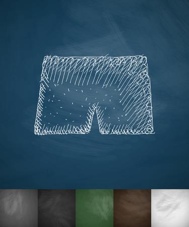 somersault: shorts icon. Hand drawn vector illustration. Chalkboard Design Illustration