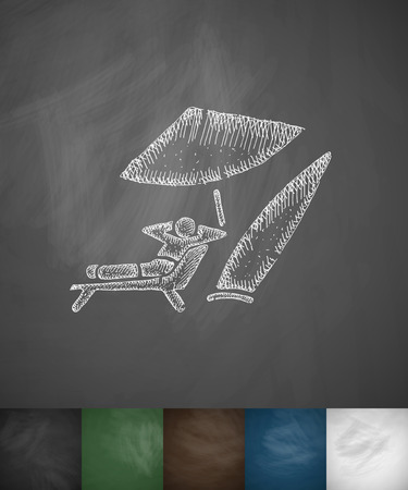 hydroplaning: surfer on the beach icon. Hand drawn vector illustration. Chalkboard Design