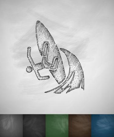 somersault: surfer on waves icon. Hand drawn vector illustration. Chalkboard Design Illustration