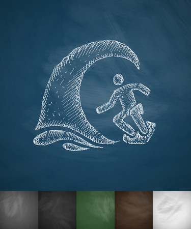 hydroplaning: surfer in the wave icon. Hand drawn vector illustration. Chalkboard Design Illustration