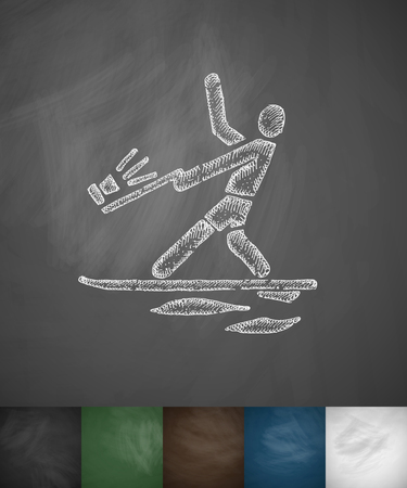 hydroplaning: water-skiing icon. Hand drawn vector illustration. Chalkboard Design