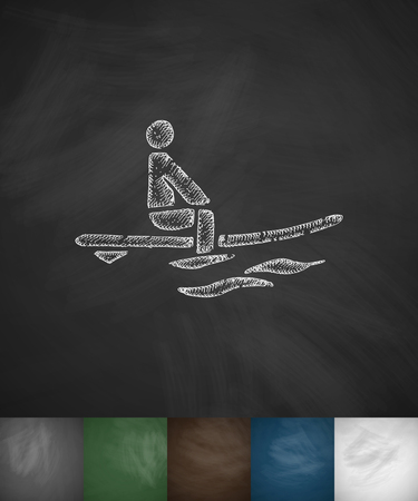 hydroplaning: surfer in ocean icon. Hand drawn vector illustration. Chalkboard Design