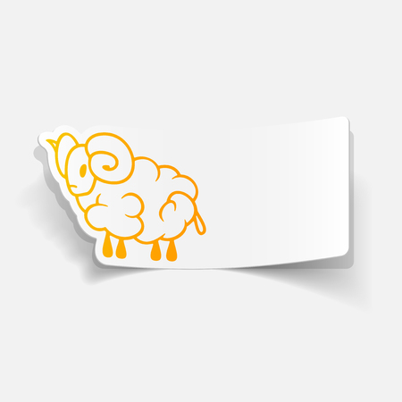 sheep sign: realistic design element: sheep Illustration