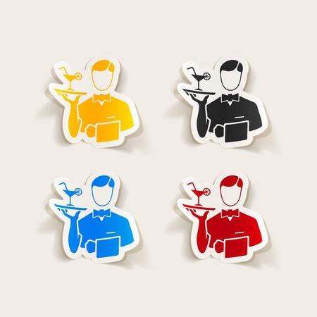 waiter: realistic design element. waiter