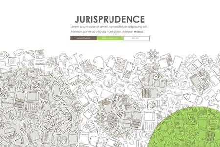 jurisprudencia: Diseño plantilla de página web con el fondo de la jurisprudencia del Doodle