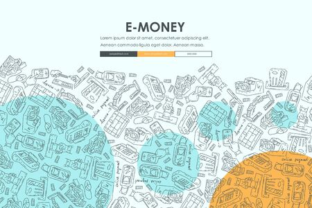 ecommerce icons: e-money Website Template Design with Doodle Background