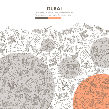 united arab emirate: Dubai Website Template Design with Doodle Background