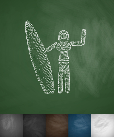 hydroplaning: girl with surfboard icon. Hand drawn vector illustration. Chalkboard Design