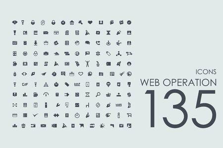 Zestaw operacji web wektora nowoczesnych prostych ikon