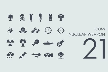 end of the world: nuclear weapon vector set of modern simple icons
