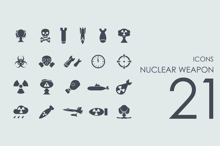 vecteur d'arme nucléaire ensemble de simples icônes modernes