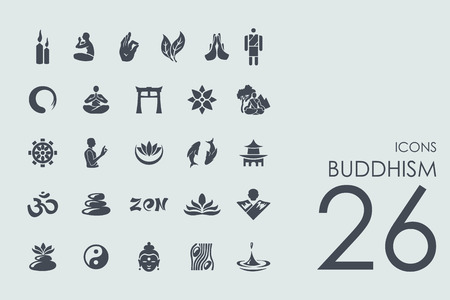 jing: buddhism vector set of modern simple icons