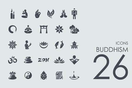 insieme buddismo vettoriale dei moderni semplici icone