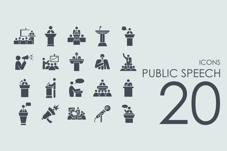 public speech vector set of modern simple icons  イラスト・ベクター素材