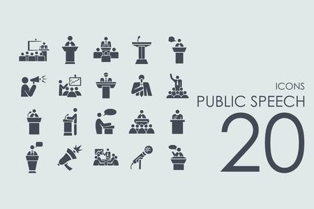 mowy publicznej wektor zestaw nowoczesnych prostych ikon