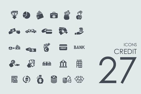 credit vector set of modern simple icons