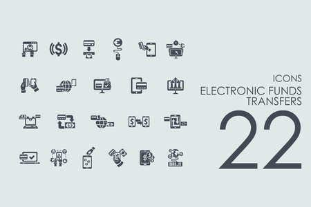 transfers: electronic funds transfers vector set of modern simple icons