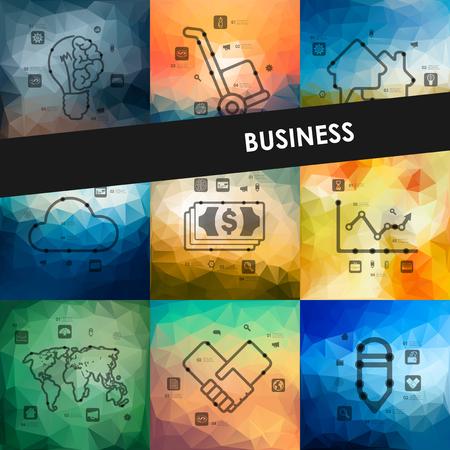 certificate design: business timeline presentations with blurred unfocused background Illustration