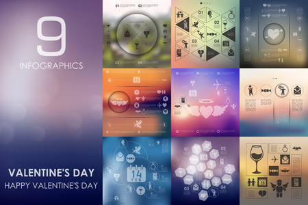 inclination: Valentineys Day vector infographics with unfocused blurred background