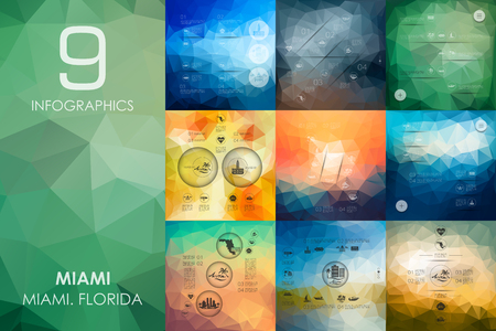 miami south beach: Miami vector infographics with unfocused polygonal background Illustration