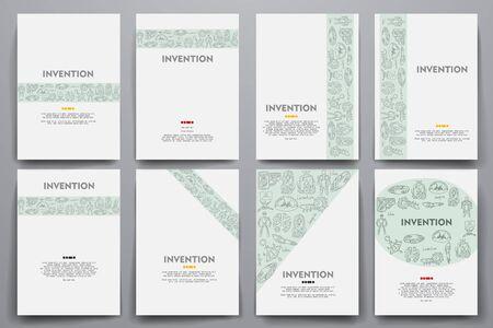 progressive art: Corporate identity vector templates set with doodles invention theme. Target marketing concept Illustration
