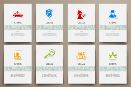 hand holding id card: Corporate identity vector templates set with doodles crime theme. Target marketing concept Illustration