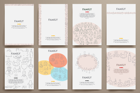 conjugal: Corporate identity vector templates set with doodles family theme. Target marketing concept