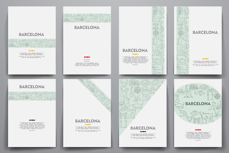 port of spain: Corporate identity vector templates set with doodles Barcelona theme. Target marketing concept