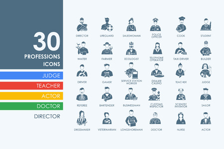 merchandiser: professions vector set of modern simple icons