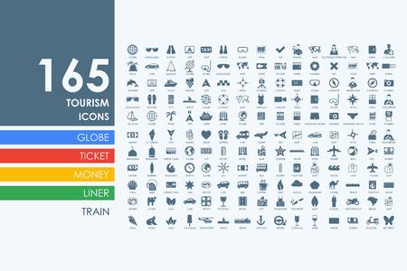 Zestaw turystyczny wektora nowoczesnych prostych ikon