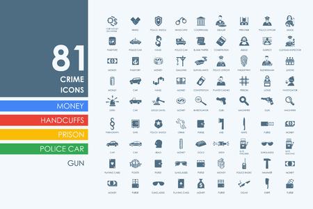 crime: crime vector set of modern simple icons Illustration