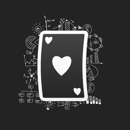 sticker design: drawing business formulas. playing card Illustration