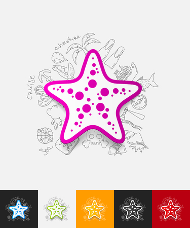 starlike: hand drawn simple elements with starfish paper sticker shadow